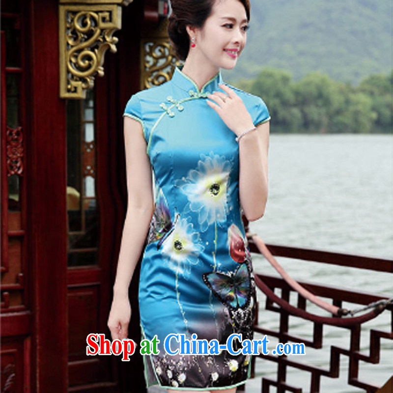 The beautiful valley 2015 NEW classic Chinese style Chinese, for manual for painting dress dresses cheongsam dress blue XL