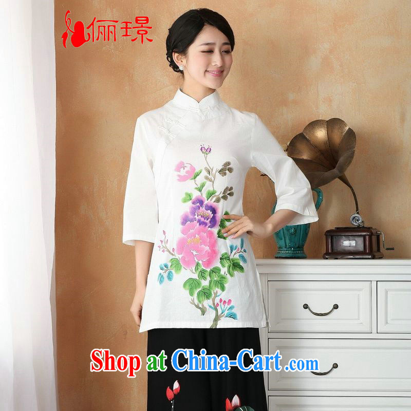 Taking Ms. Jing Tang Women's clothes summer T-shirt, for a tight cotton the hand-painted Chinese Han-female improved Tang in 2393 Cuff - 2 Black Toner 2 XL (recommendations 130 - 140 jack)