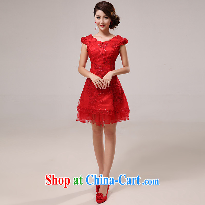 The United States, the Chinese Antique -- red bridal wedding dresses serving toast short lace, improved Princess package shoulder cuff beauty graphics thin Q 0007 red L
