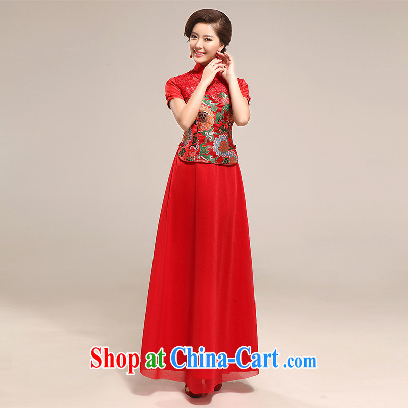 The United States and the marriages, long dresses 2014 New Red bows clothes qipao improved retro lace Chinese Dress two-piece Q - 559 red XXL