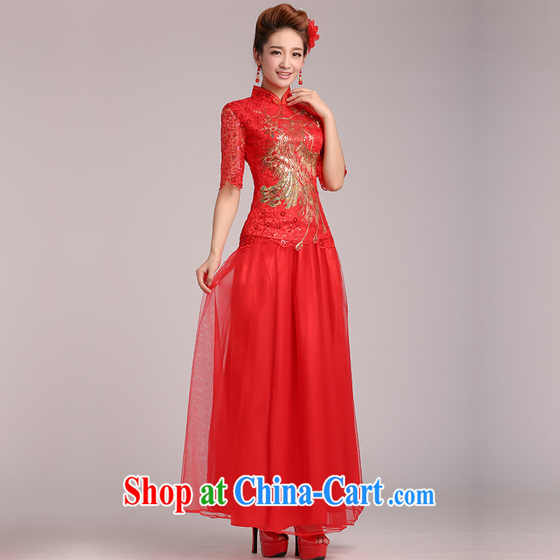 The United States and the wedding dresses 2015 New Long bows bridal clothes red cheongsam Chinese Antique large code improved lace, Q 0020爎ed XXL