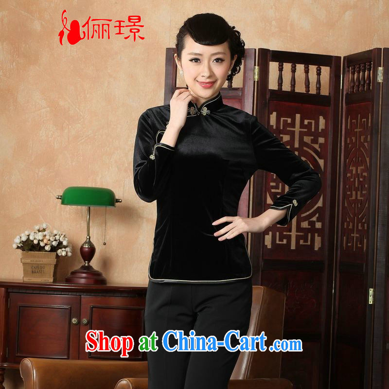 Allow Ms. Jing Tang Women's clothes summer T-shirt, for a tight wool Chinese Han-female improved Tang in 0064 Cuff - A black 3 XL _recommendations 130 - 135 jack_