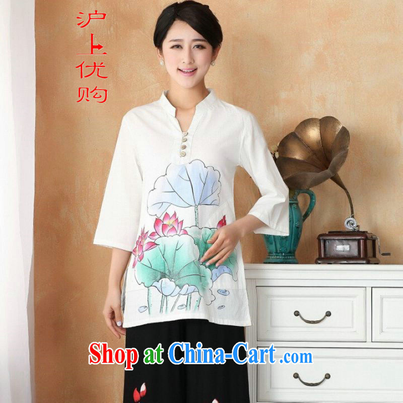 Shanghai, optimize purchase female Tang Women's clothes summer T-shirt, for a tight hand-painted cotton the Chinese Han-female Enhancement - 1 Lotus 3 XL