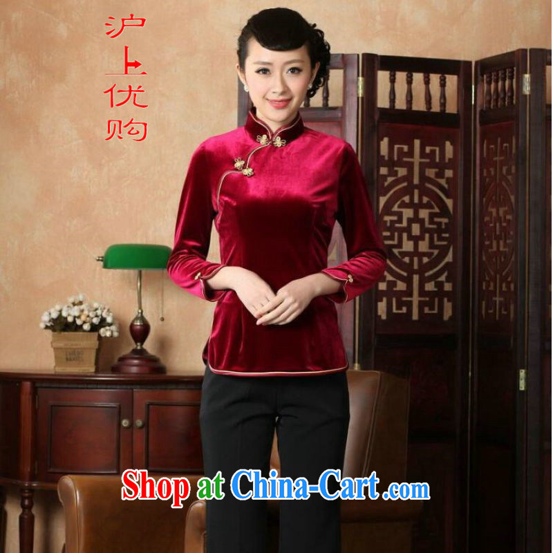 Shanghai, optimize purchase female Tang Women's clothes summer clothes, for a tight plain velour Chinese Han-female improved A 0064 wine red 3XL