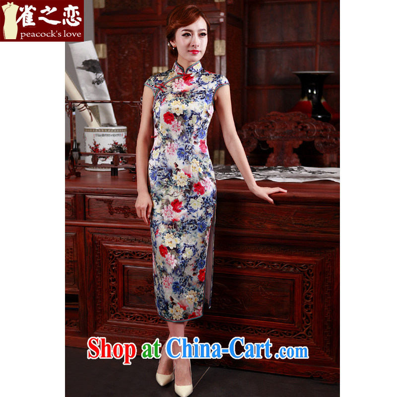 Limited edition! Birds love the chestnut 2015 spring new 22 meters of heavy silk long cheongsam QD 497 fancy XXXL