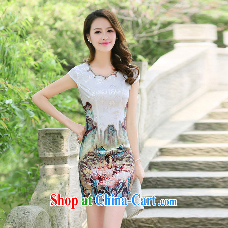 The Hee 2014 new summer fashion improved cheongsam short, elegant everyday dresses dresses gold Beauty Figure XXL