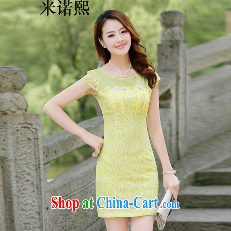 Domino-hee summer 2014 new stylish improved cheongsam dress for the high-end lace beauty graphics thin dresses yellow XXL