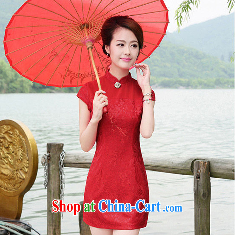 The Hee 2014 new female short sleeves cheongsam dress cultivating improved elegant wedding dress red XXL