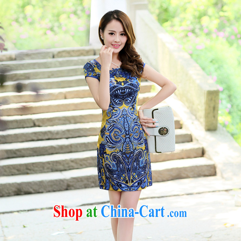The Hee 2014 summer new improved stylish embroidery cheongsam blue and white porcelain cheongsam dress package and yellow XXL