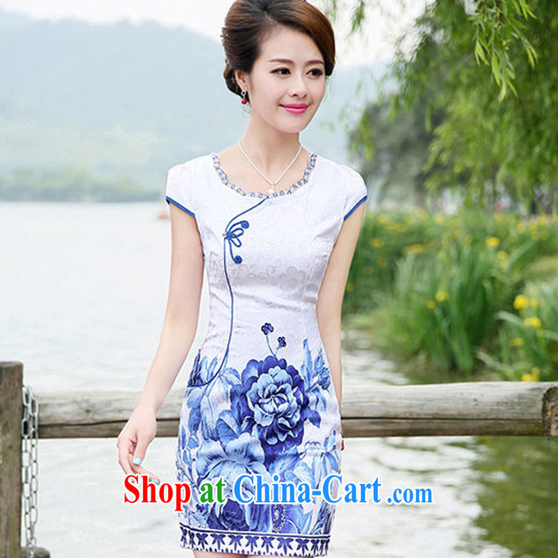 The Hee-2014 summer new dresses and elegant blue and white porcelain BEAUTY package and short-sleeved dresses, flower XXL