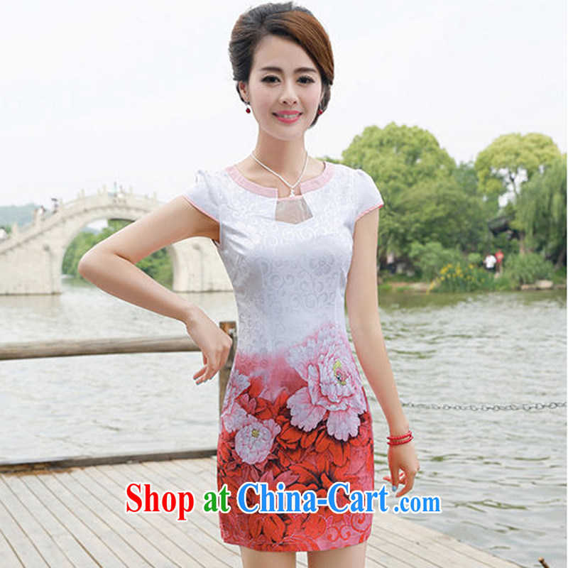 The Hee 2014 summer retro short-sleeved improved stylish stamp Chinese qipao dress female non-Lao dresses red Peony flowers XXL