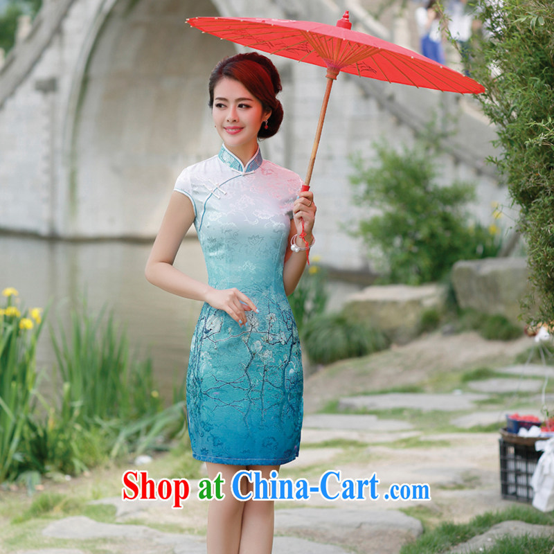 The Hee-2014 new summer day-cultivating improved graphics thin antique Chinese Dress cheongsam dress container take XL