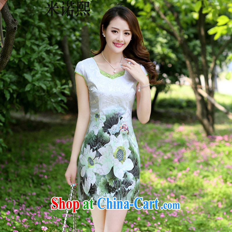 The Hee 2014 summer new stylish women's clothing style cheongsam dress improved beauty dress short-sleeved short Green lotus XL