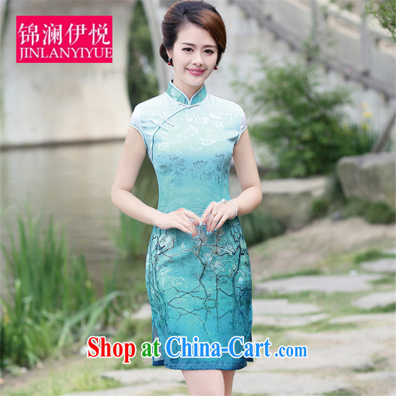 kam world Iraq's elegant wind-name-yuan style lady high-end women who decorated container Phillips-stamp outfit water small blue dress dress uniform toast bride container take XXL