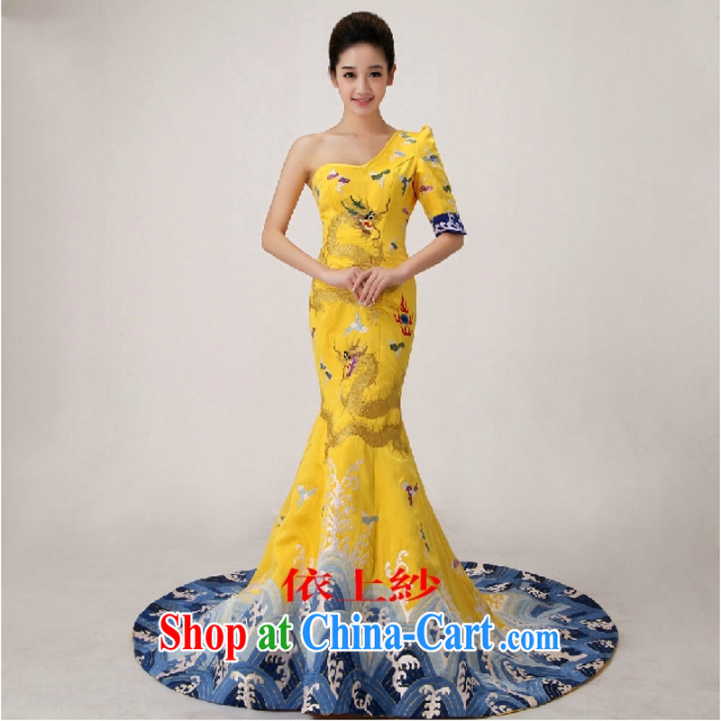 2015 new, advanced customization, Fan Bing Bing Cannes Film Festival dragon robe Chinese qipao crowsfoot dress and 10 foot yellow XXL