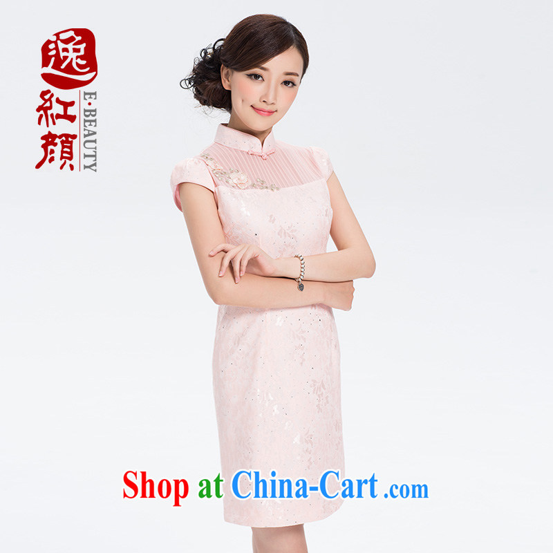 once and for all and fatally jealous pink sticky note art lace China wind girls improved daily, for dresses summer ethnic wind pink 2 XL