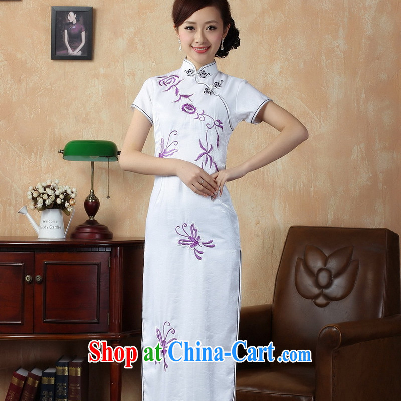 2014 new female sweet lady elegant style sexy long robes white embroidery improved daily dress long skirt dresses white powder was spent M code XXL