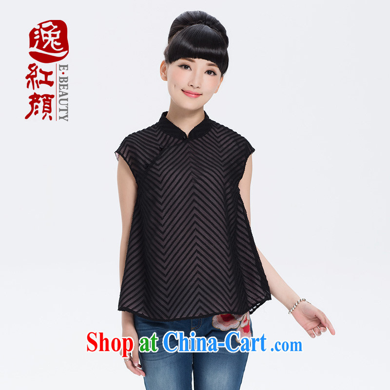 Once the proverbial hero snow as soon as possible a lint-free cloth fashion beauty breathable snow woven shirts summer Ms. thin sleeveless Chinese T-shirt black M