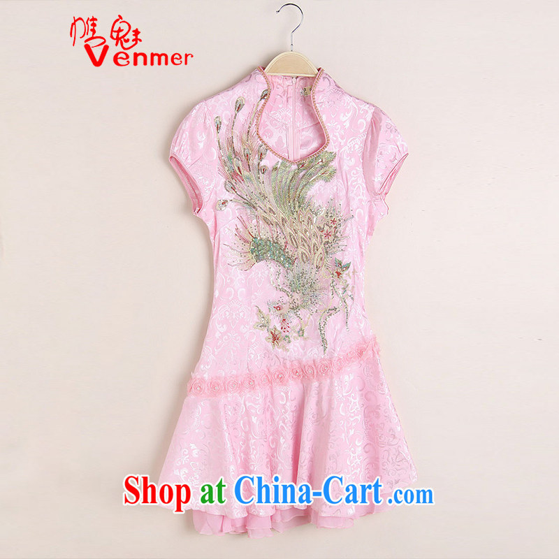 Clearly, Venmer sexy lace retro female Phoenix TV embroidery summer wear cheongsam dress improved fashion dresses 1220 pink XL