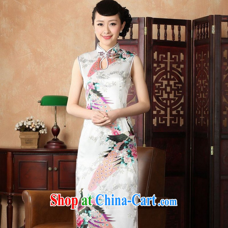 Floor is still building female new summer, Ms. collar sleeveless stamp the long Chinese improved retro cheongsam Chinese female 5115 white 2XL_40
