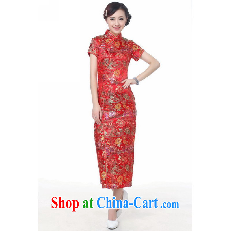 Floor is still building female new summer, Ms. short-sleeved, long, hand-painted antique Chinese improved cheongsam Chinese female C 0001 red M_34
