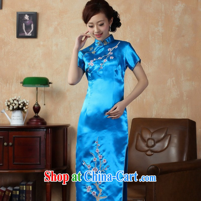 Floor is still building female new summer, Ms. short-sleeved hand-painted antique Chinese improved the code long cheongsam Chinese clothing show female J 3406 Lake blue 3 XL/ 42/