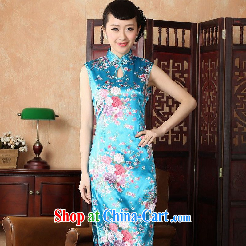 Floor is still building female new summer, Ms. collar sleeveless, long antique Chinese improved hand-painted large, qipao Chinese uniforms female J 5110 Lake blue 2 XL_40