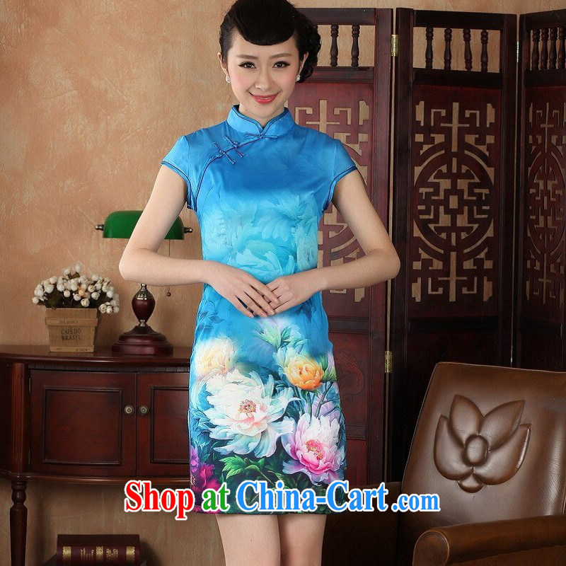 Floor is still building female new summer, Ms. short-sleeved hand-painted antique China wind improved the code cheongsam Chinese female Lake blue 2 XL/40