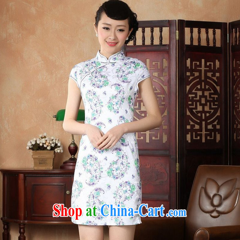 Floor is still building female new summer, short-sleeved, for antique hand-painted Chinese improved the code cheongsam Chinese female uniforms white 2XL/ 40/