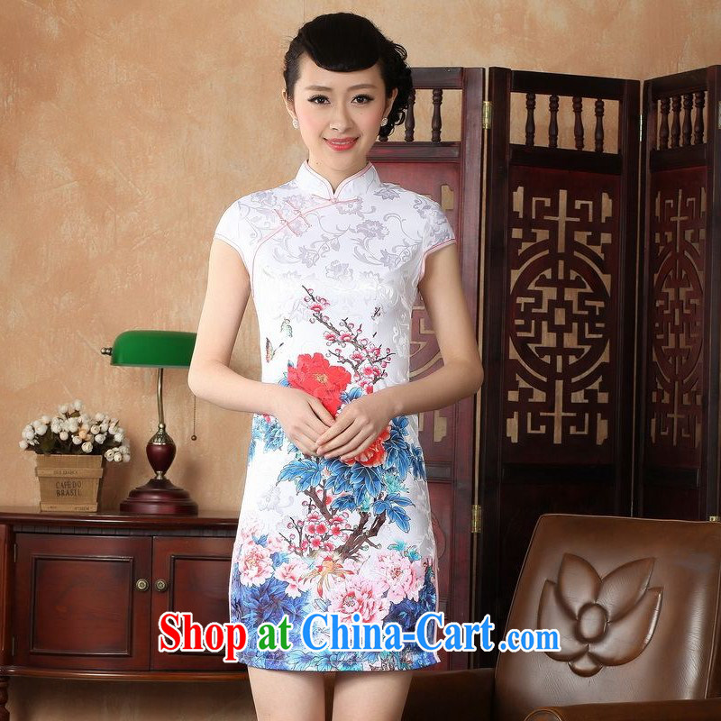 Floor is still building female new summer, short-sleeved, for antique hand-painted Chinese improved the code cheongsam Chinese female uniforms white 2XL_ 40_
