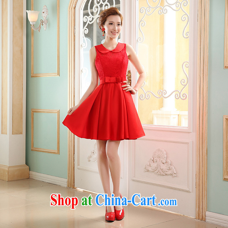 Wei Qi new summer 2015, short red dresses, bride toast wedding clothes stylish sister retro new dress cheongsam dress shooting graduation ball female Red L