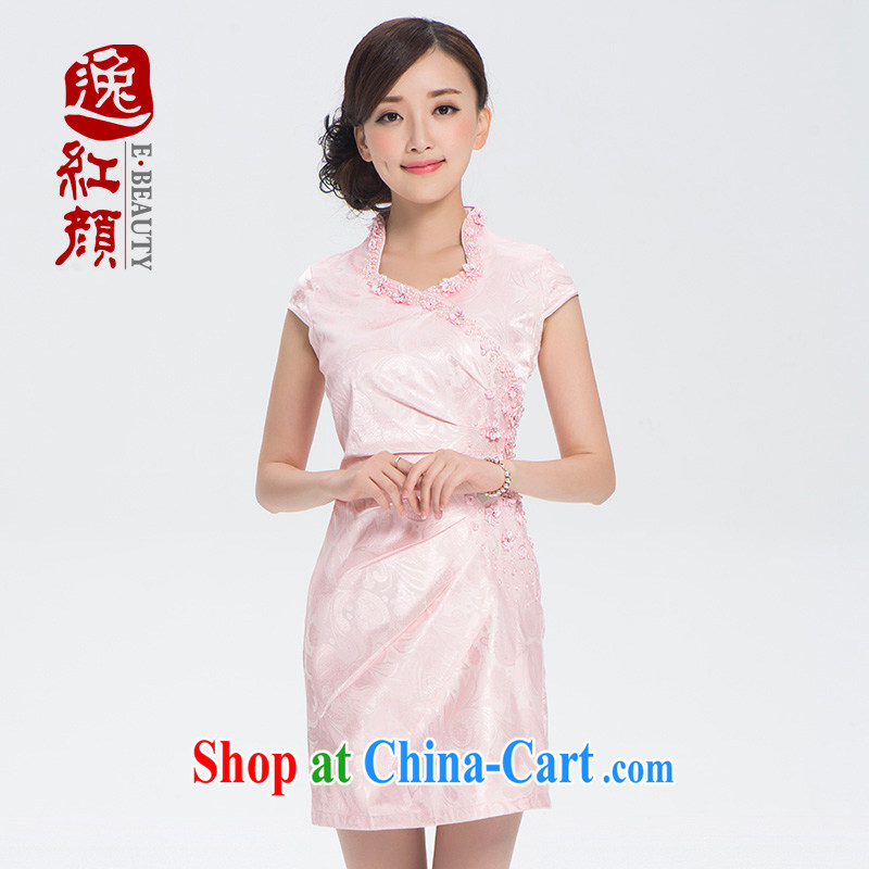 The proverbial hero once and for all, as soon as possible with 3-Color China wind summer female ethnic wind embroidery improved daily cheongsam dress pink XL