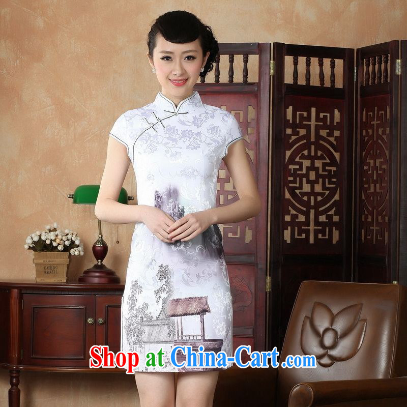 Floor is still building female new summer, short-sleeved, for the charge-back retro hand-painted large code Chinese improved cheongsam Chinese female performance service 0227 white 2XL_40