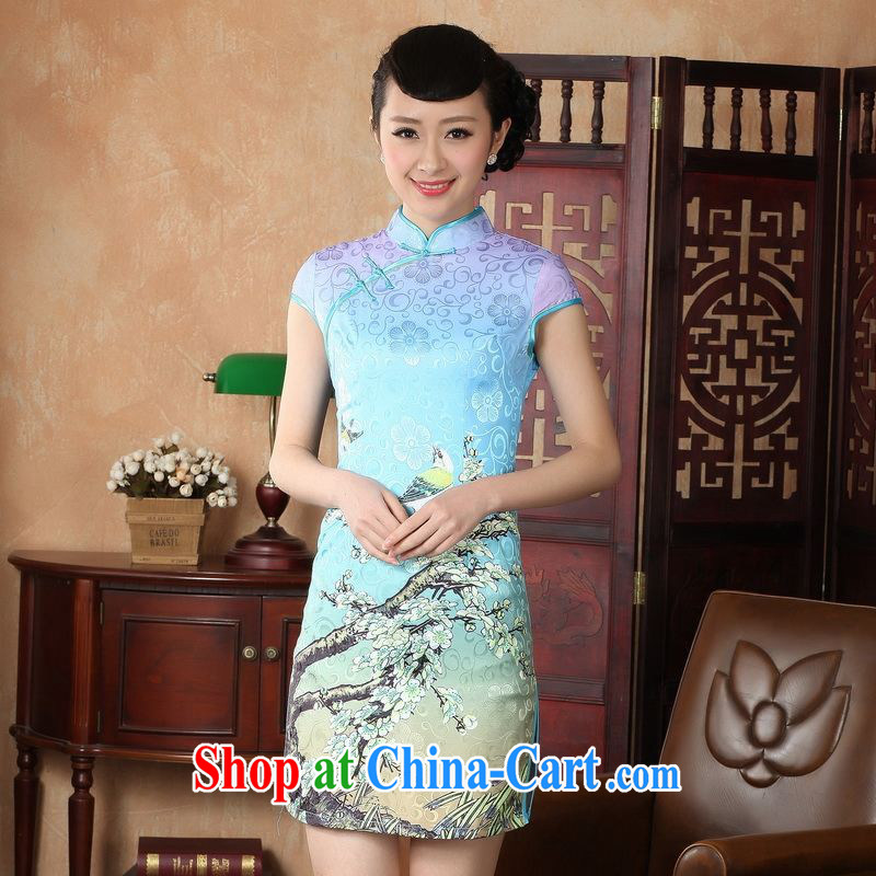Floor is still building female new summer, short-sleeved, for the charge-back China wind Chinese improved hand-painted antique large code cheongsam Chinese women dress - A lake blue 2 XL_ 40_