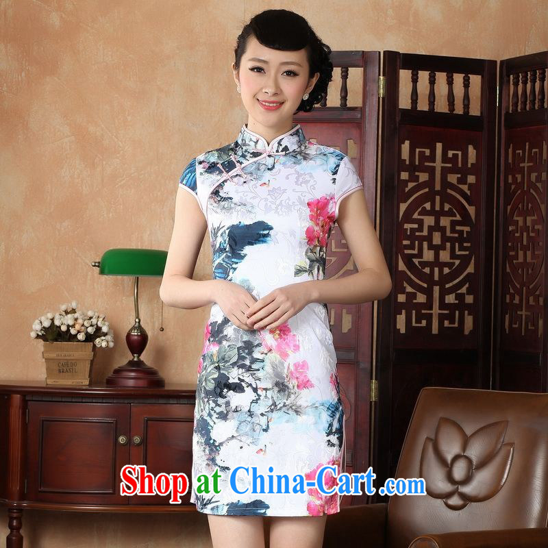 Floor is still building female new summer, short-sleeved, for the charge-back retro hand-painted Chinese improved cheongsam Chinese women dress white 2XL_40