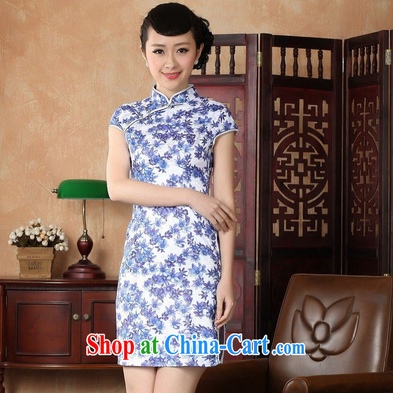 Floor is still building female new summer, short-sleeved, for the charge-back antique Chinese improved hand-painted large, qipao Chinese female dress Blue on white 2 XL/40