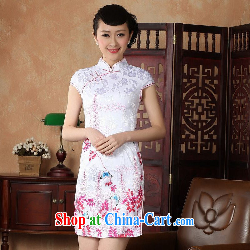 Floor is still building female new summer, short-sleeved, for the charge-back retro hand-painted Chinese improved the code cheongsam Chinese women dress white L_36
