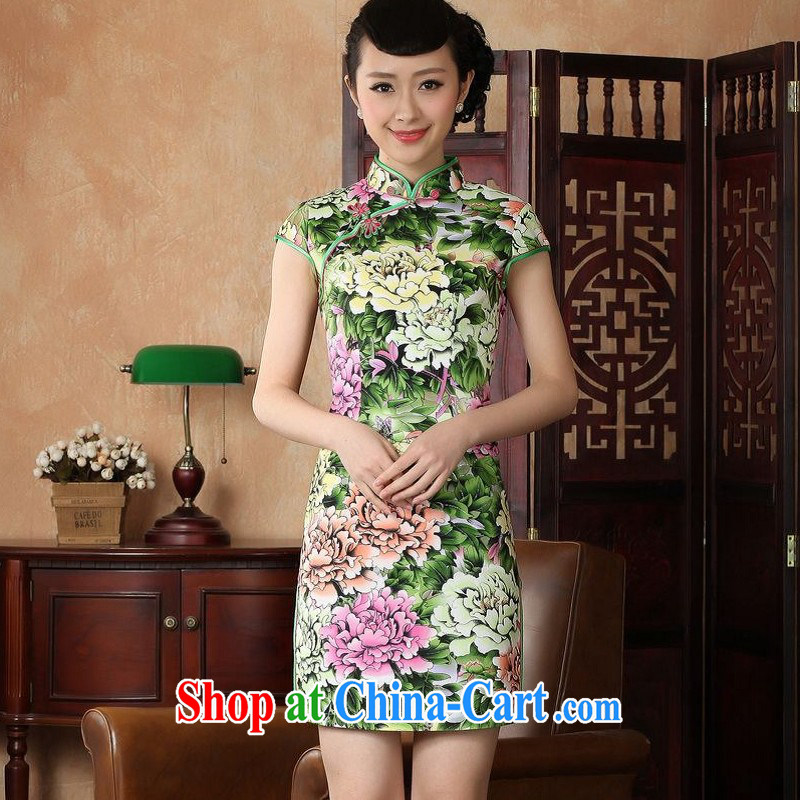 Floor is still building female new summer short-sleeve and collar antique Chinese improved hand-painted large, qipao Chinese women dress - A green 2 XL/40