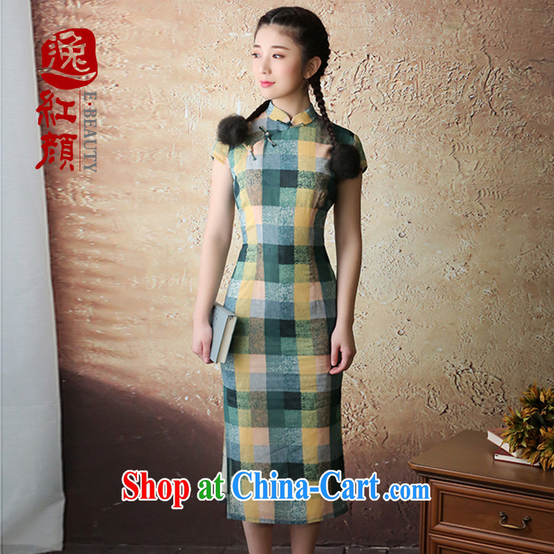 once and for all from fatally jealous Yao cotton color grid retro art long, new dresses 2015 summer long cheongsam dress green L
