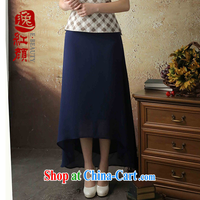 The proverbial hero once and for all -- long smoke summer 2014 new stylish body long skirt lightweight breathability and comfort snow woven dresses blue XL
