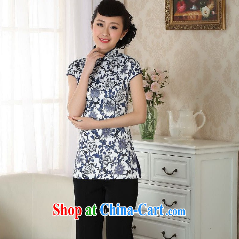 Floor is still building female new summer, short-sleeved, for antique hand-painted Chinese improved the code cheongsam Chinese T-shirt woman white orchids 2 XL