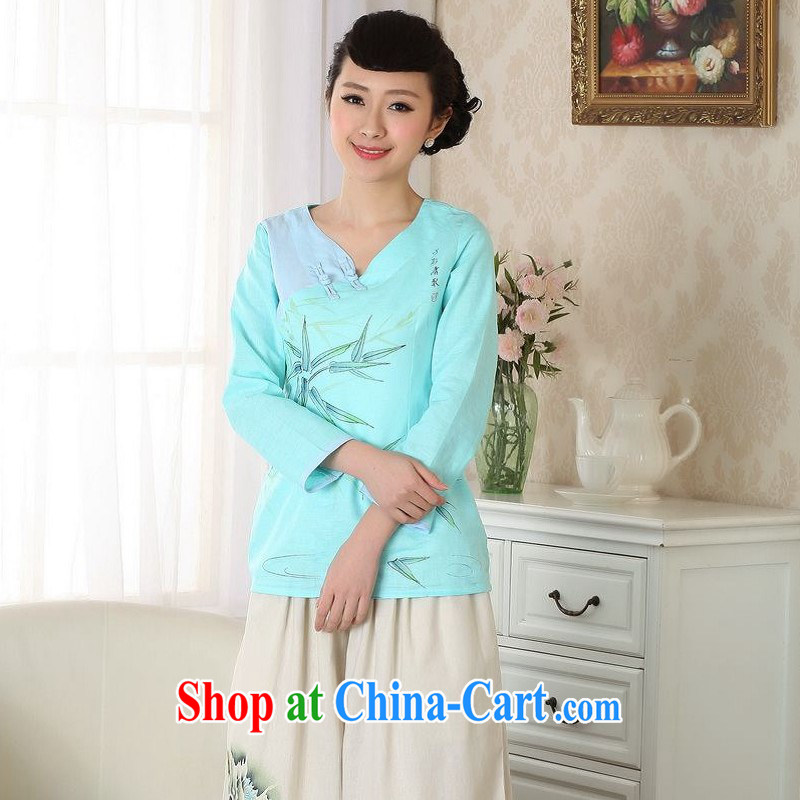 ground floor is still building female new, Ms. summer hand-painted cotton Ma ethnic wind improved Chinese large code Chinese T-shirt girls blue 2 XL