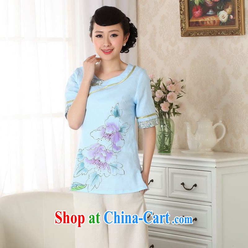 Floor is still building female new, Ms. summer round-collar short-sleeve cotton the hand painted ethnic-Chinese improved the code cheongsam Chinese T-shirt girls light blue燣