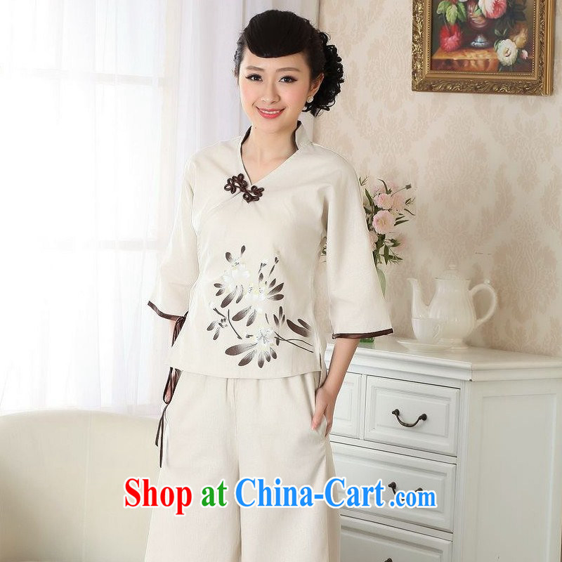 Floor is still building female new summer, Ms. cotton for the ethnic-Chinese improved hand-painted cheongsam Chinese T-shirt girls beige XL