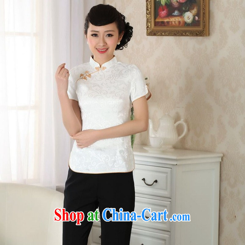 Floor is still building female new summer, Ms. short-sleeved hand-painted Chinese improved ethnic winds, Chinese T-shirt female white 2 XL