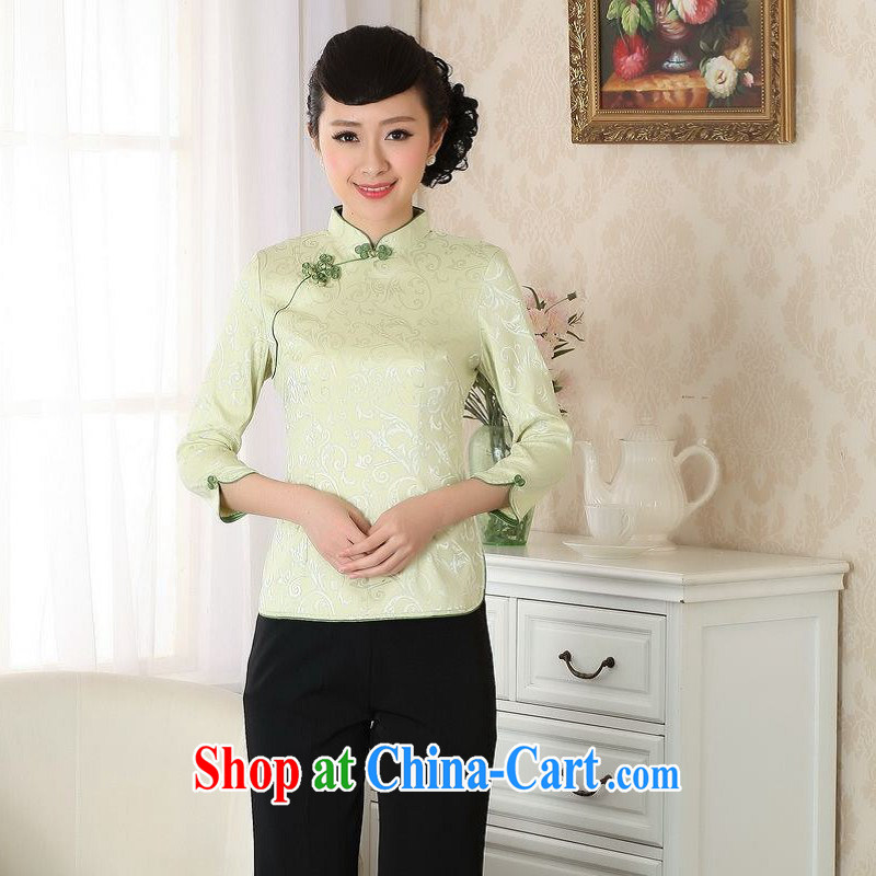 Floor is still building female new summer Ms. cuff in the collar of ethnic-Chinese improved hand-painted large, Chinese T-shirt girls - A green 2 XL