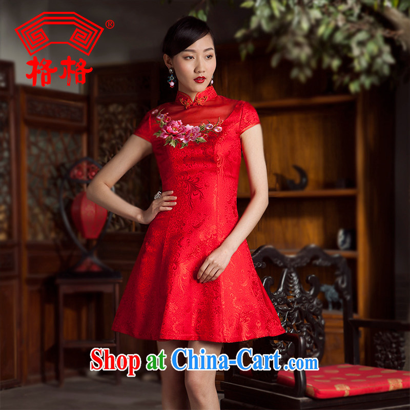 Princess 2014 spring and summer new dos santos high silk embroidered Princess dress wedding dresses the dresses female Red 3 XL
