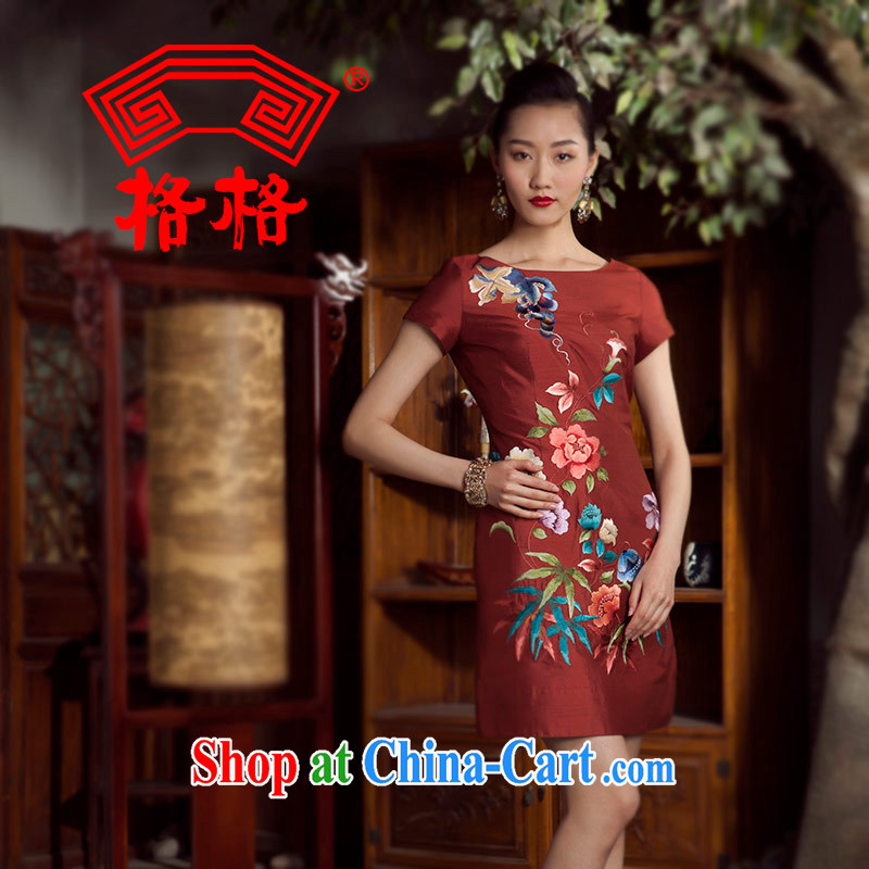 Huan Zhu Ge Ge 2014 spring and summer new round-collar Chinese upscale embroidered dresses sauna silk Silk Cheongsam girls overnight red 5 XL