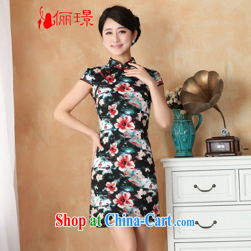 Miss Au contributed dresses summer improved retro dresses, for a tight cotton Ma hand-painted Chinese improved cheongsam dress short 2391 - 1 black 2 saffron XL (recommendations 120 - 130 jack)
