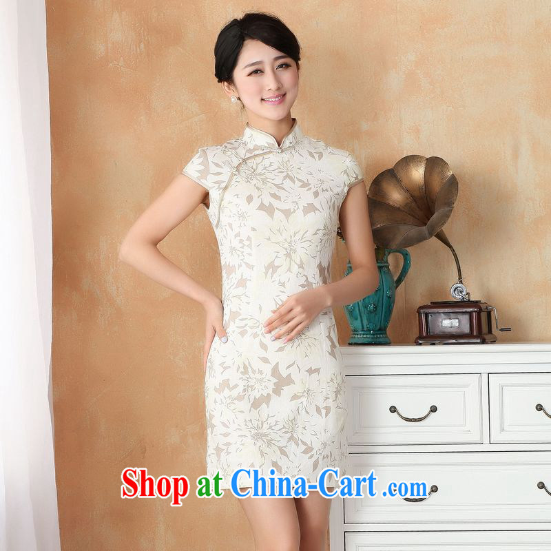 Jing An outfit summer improved retro dresses, cotton for the hand-painted Chinese improved cheongsam dress short 2391 - 4 white 2XL _120 - 130 _ jack